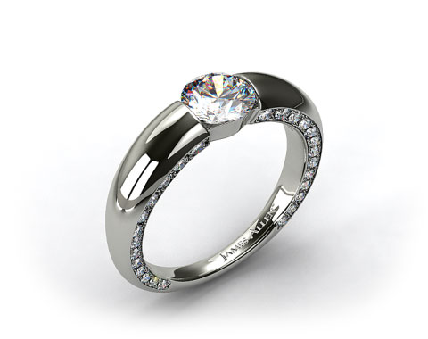 14k White Gold Bar-Set Pave Set Diamond Engagement Ring